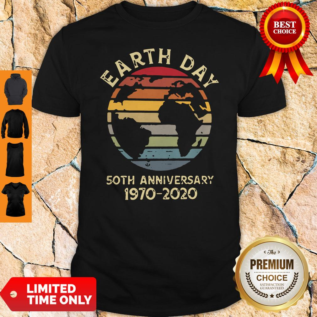 Official Retro Earth Day 50th Anniversary 1970 Retro Sunset Shirt - 1