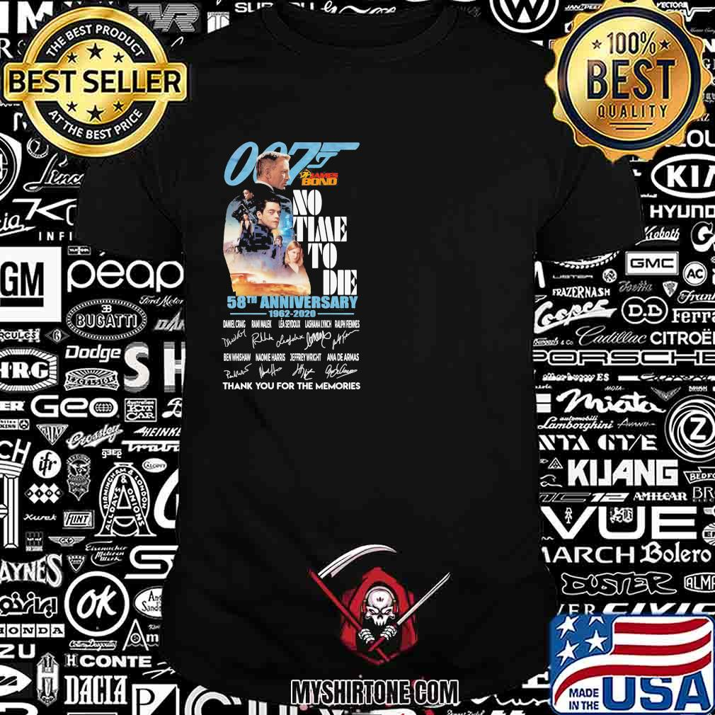 007 no time to die 58th anniversary 1962 2020 thank for the memories signatures shirt