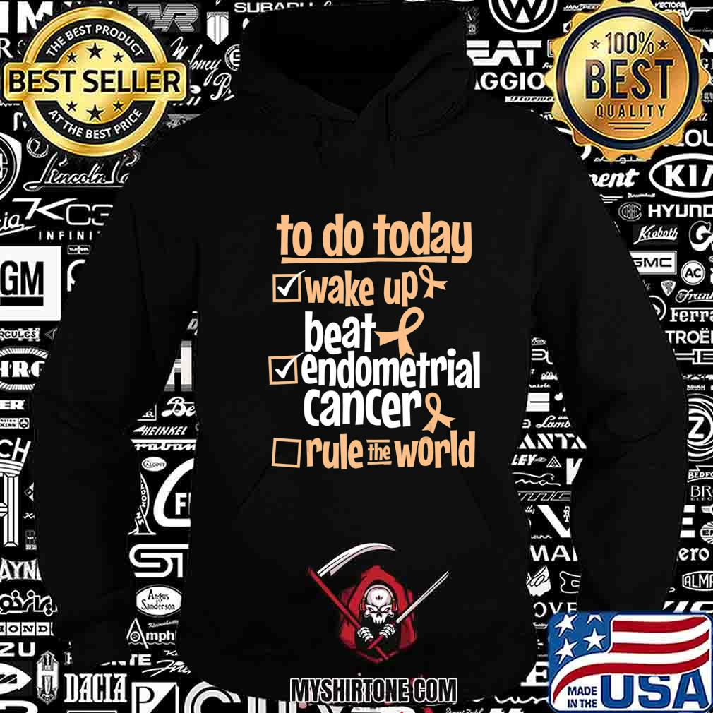 Funny Beat Endometrial Cancer Rule the World - Survivor Gift T-Shirt