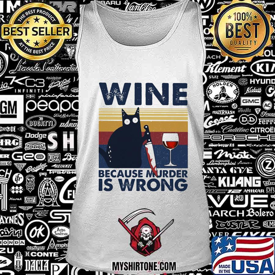 Halloween black cat hold knife wine because murder is wrong vintage retro s Tank Top