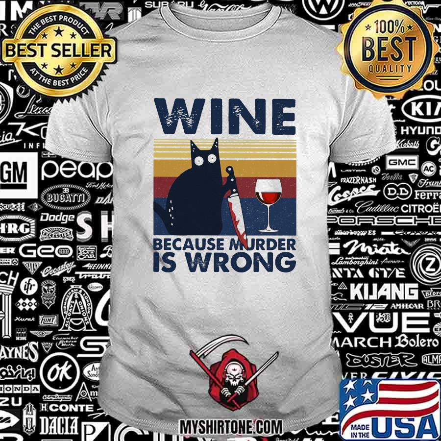 Halloween black cat hold knife wine because murder is wrong vintage retro shirt