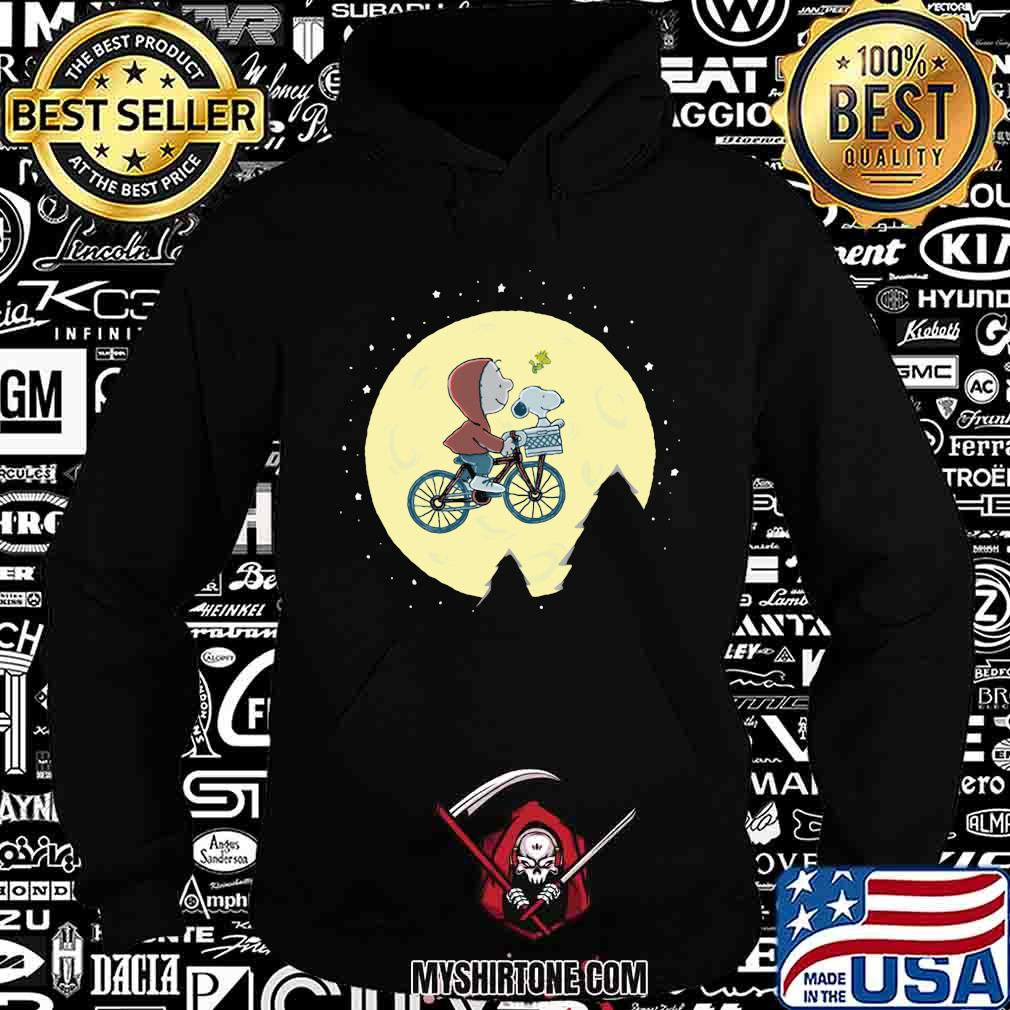 Charlie brown and snoopy riding bicycle moon shirt