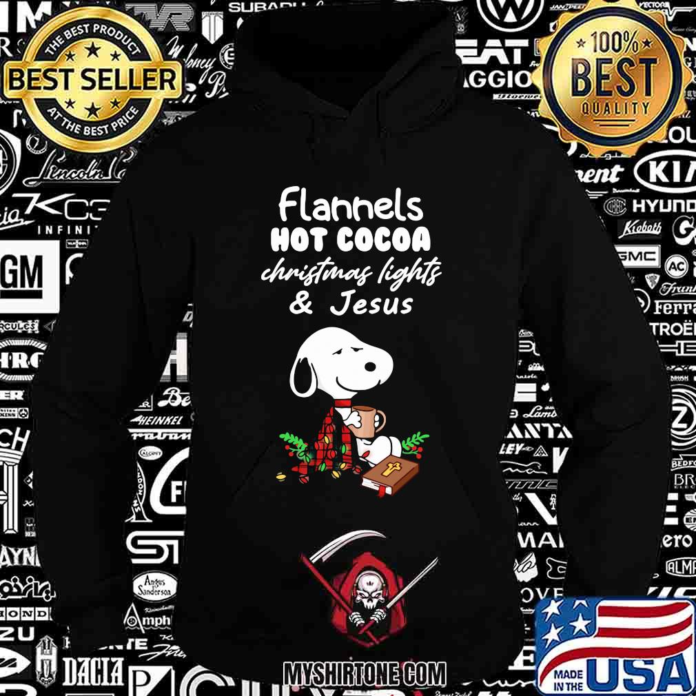 Snoopy flannels hot cocoa christmas lights and jesus shirt