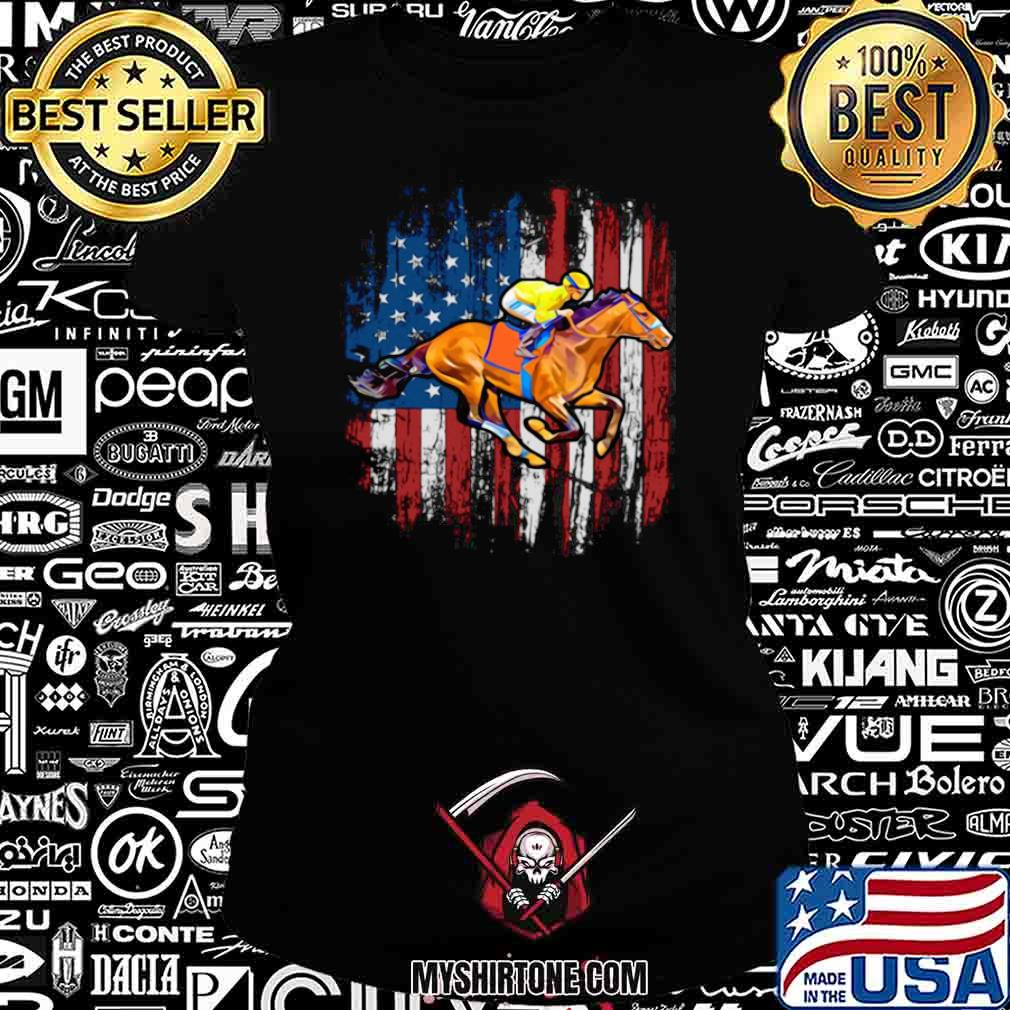 American Flag Horse Racing shirt - Copy Ladiestee