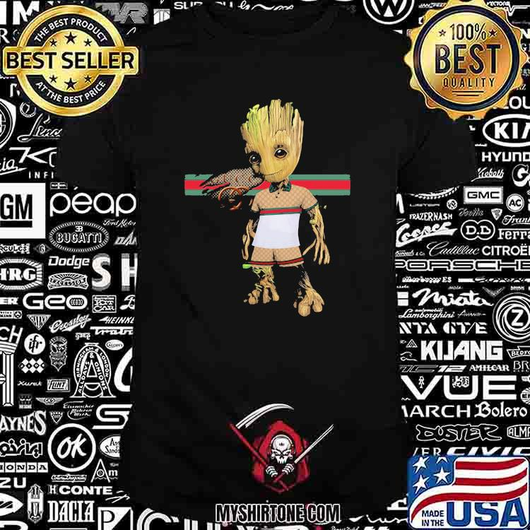 Baby Groot Wear Clothes Of Gucci Shirt
