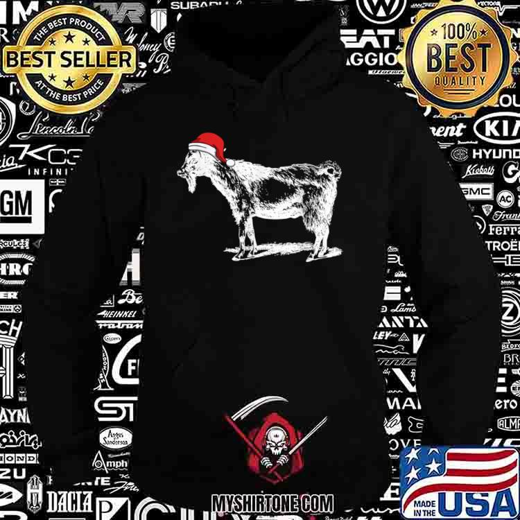 Goat in Santa Hat Christmas Pajama Shirt Hoodie