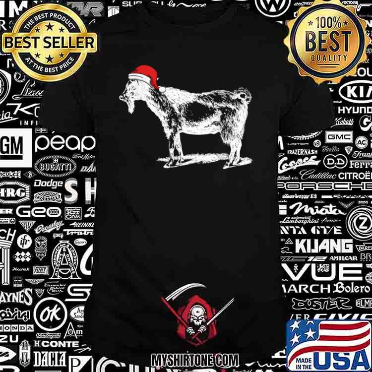Goat in Santa Hat Christmas Pajama Shirt